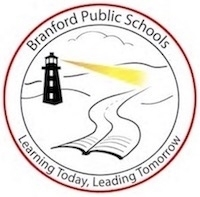 """Branford Public Schools"" logo -- ""Learning Today, Leading Tomorrow"""