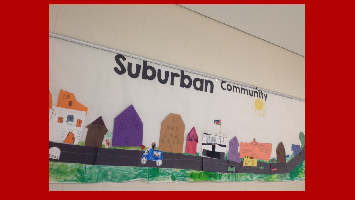 School work poster of a suburban community
