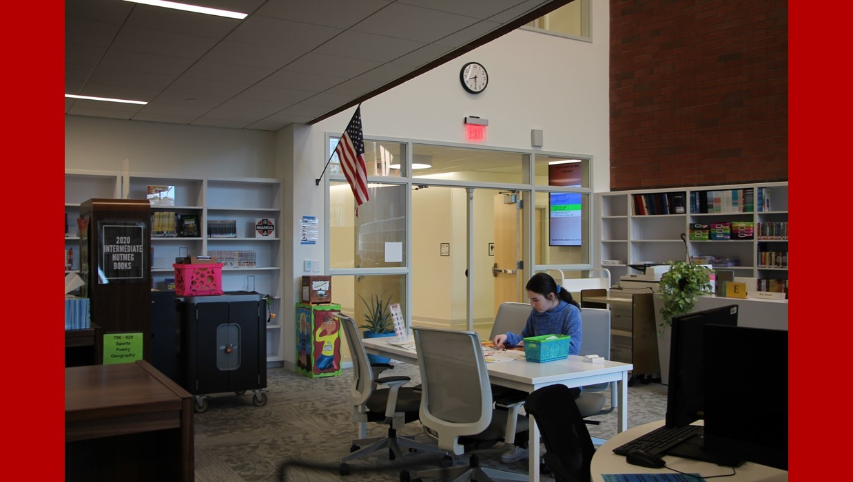 Student working in the new Walsh Library Learning Commons