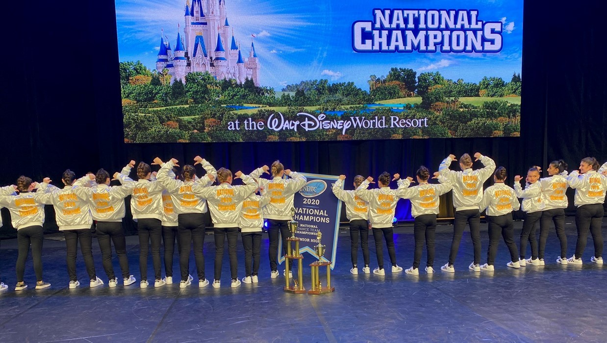 WIS Dance Team celebrates winning the 2020 National Championship in kick