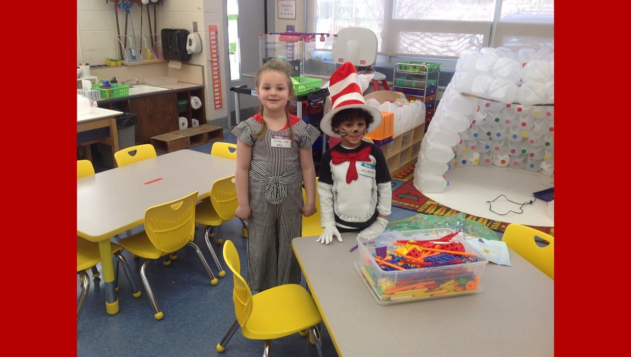 Students dress up as a character from a book for Read Across America Day
